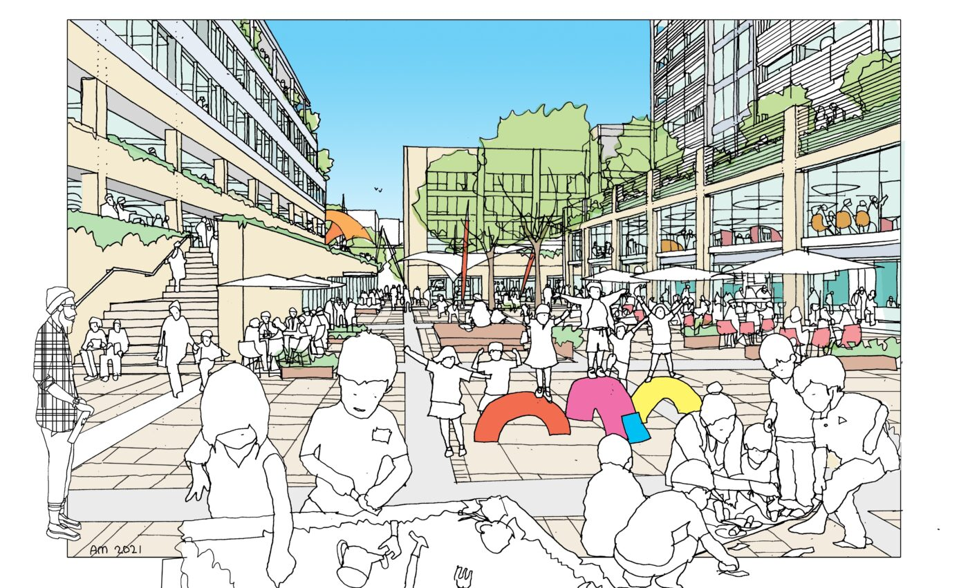Proposed view of new public square at Saxon Court